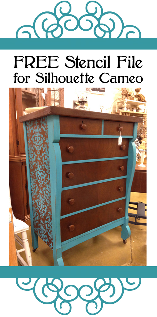 Stenciled Furniture: Free stencil file for Silhouette Cameo - by Kerry Leigh and Co.